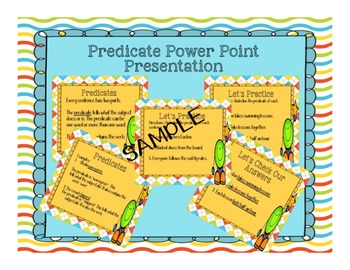 All about Subjects and Predicates Powerpoint Presentation and Task Cards
