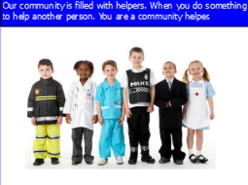 All about community helpers including doctors and firefighters