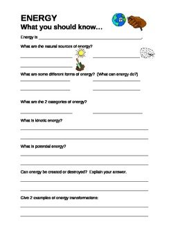 All about energy- student worksheet