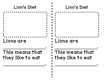 All about lions writing-Nonfiction Writing for lower elementary