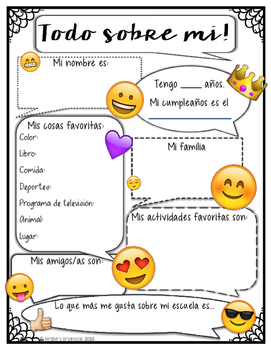 All about me  - Back to school Emoji English and Spanish