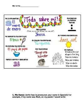 """All about me"" Spanish project"