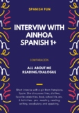 All about me activity- short interview, verbs ser, gustar and tons of cognates!