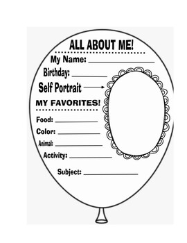 All about me balloon first day of school project template ...
