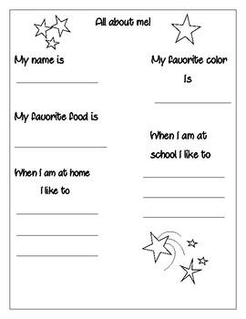 All about me basic info sheet freebie