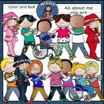 """""""All about me"""" clip art- Color and B&W"""