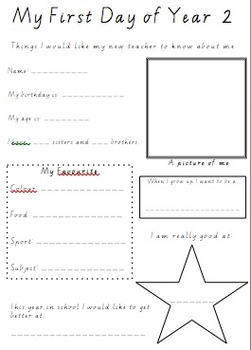 All about me. First Day Activity. Australian Spelling
