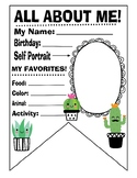 All about me first day of school succulent art banner penn