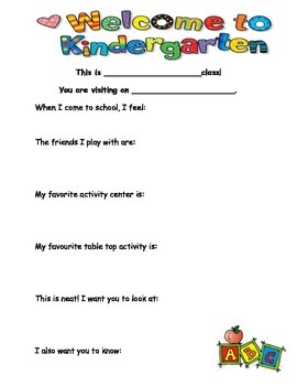 All about me in kindergarten - parent interview/conference form
