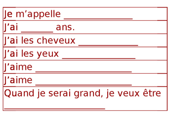 All about me poster sentences - in french