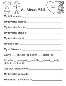 All about me template. Pre-K