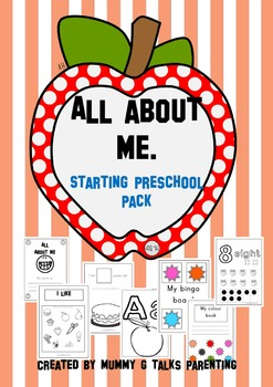 All about me topic theme - starting preschool pack. prek