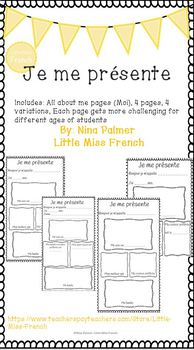 all about me worksheet in french je me pr sente by little miss french. Black Bedroom Furniture Sets. Home Design Ideas