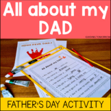 All about my Dad, Father's Day questionnaire and mini book preschool activity