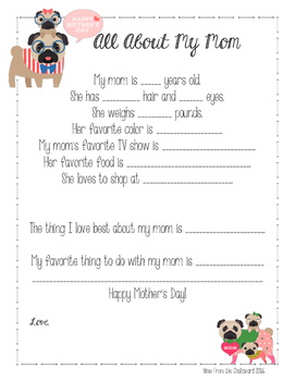 All about my mom ( Mother's Day ) Survey, Poem with Pugs