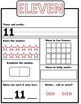 All about numbers 1-12 !!  Number Sense Practice Sheets !!