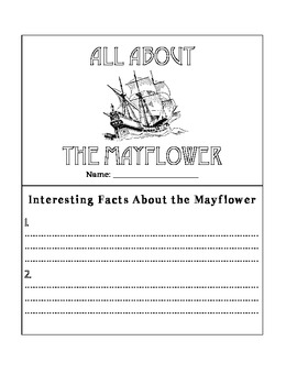 All about the Mayflower Book Activity