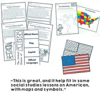 All About the United States Activity Pack maps, spinner, flip book, activities