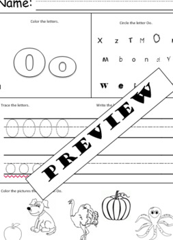 All about the letter Oo alphabet worksheet