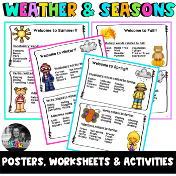 All about the weather & seasons ESL - Task cards, Worksheets and Activities