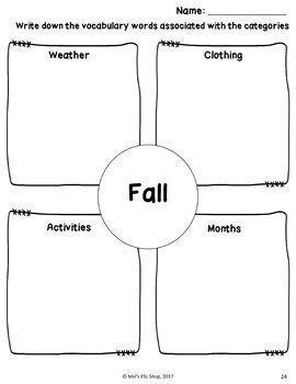 ESL Weather & Seasons- Task cards, Worksheets & Activities