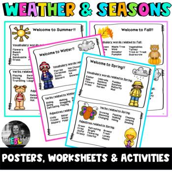 esl weather seasons flashcards worksheets activities by mel 39 s esl shop. Black Bedroom Furniture Sets. Home Design Ideas