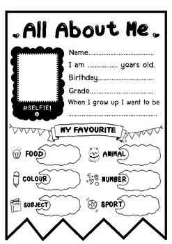All about me! (Back to school)-First day of school activities