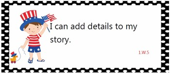 All common core standards posters for first grade - red, white, and blue