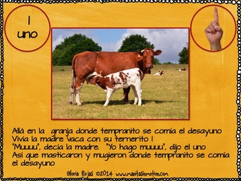 Allá en la Granja – a bilingual book, numbers, counting, animal babies, farm