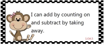 All first grade ELA/Math Common Core State Standards posters - cute monkeys