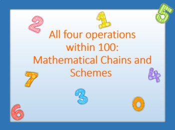 All four operations within 100: Mathematical Сhains and Schemes