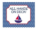 All hands on deckRed, White, and Navy blue Nautical Job Chart