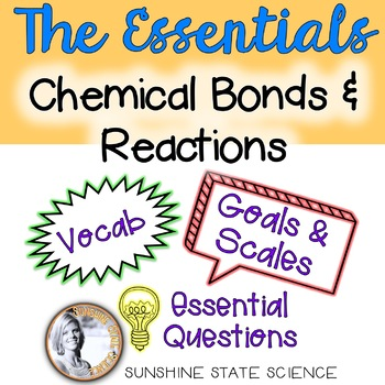 Chemical Bonds & Reactions: Learning Goal, Scale, Essential Questions & Vocab