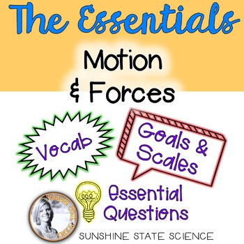 Motion and Forces: Goals & Scales, Essential Questions & Vocab
