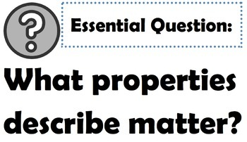 Matter: Goals & Scales, Essential Questions & Vocabulary