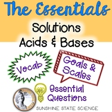 Solutions, Acids & Bases: Goals & Scales, Essential Questions & Vocabulary