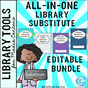 All-in-One Editable Library Substitute Planner Handbook BUNDLE