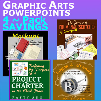 Graphic Arts Design Lessons Bundled All-in-One Curricula Book + 4 Powerpoints!