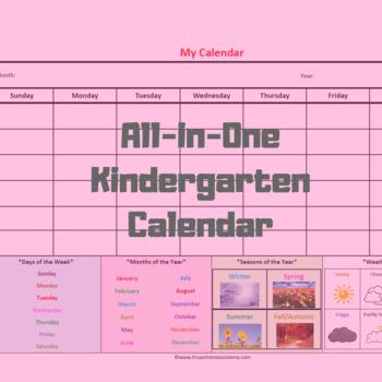 All-in-One Kindergarten Calendar: My Calendar