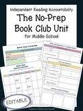 Student-Led Book Club Unit for Middle School | EDITABLE