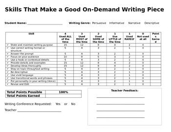 On-Demand Writing Rubric All Genres in One!