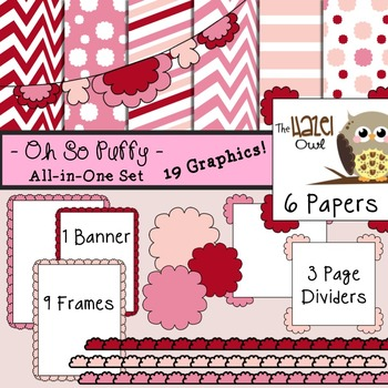 All-in-One Set: Oh So Puffy 10 {Digital Papers, Frames, Page Dividers, & Banner}