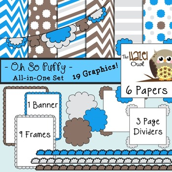 All-in-One Set: Oh So Puffy 11 {Digital Papers, Frames, Page Dividers, & Banner}