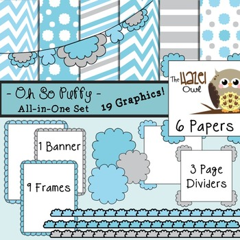 All-in-One Set: Oh So Puffy 12 {Digital Papers, Frames, Page Dividers, & Banner}