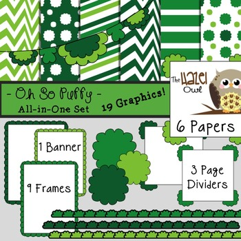 All-in-One Set: Oh So Puffy 13 {Digital Papers, Frames, Page Dividers, & Banner}