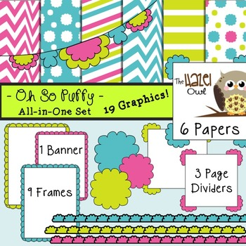 All-in-One Set: Oh So Puffy 3 {Digital Papers, Frames, Page Dividers, & Banner}