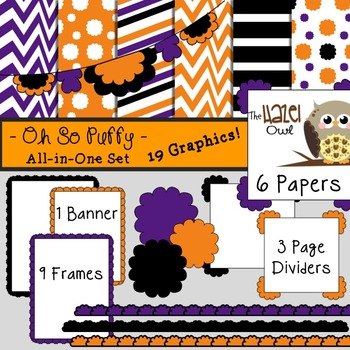 All-in-One Set: Oh So Puffy 4 {Digital Papers, Frames, Page Dividers, & Banner}