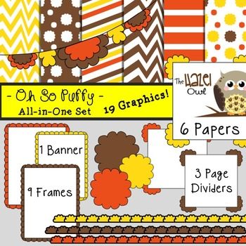 All-in-One Set: Oh So Puffy 5 {Digital Papers, Frames, Page Dividers, & Banner}