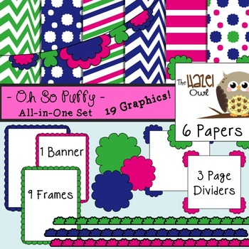 All-in-One Set: Oh So Puffy 6 {Digital Papers, Frames, Page Dividers, & Banner}