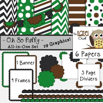 All-in-One Set: Oh So Puffy 7 {Digital Papers, Frames, Page Dividers, & Banner}